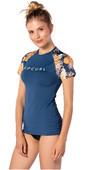 2020 Rip Curl Womens Sun Setters Short Sleeve Rash Vest WLU9KW - Navy