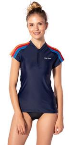 2020 Rip Curl Womens Moontide Zip Cap Sleeve Rash Vest WLY8OW - Stripe