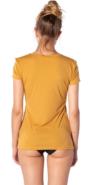 2020 Rip Curl Womens White Wash Loose Fit Short Sleeve Rash Vest WLU9QW - Mustard
