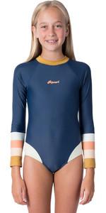 2020 Rip Curl Junior Girls Long Sleeve Back Zip Surf Suit WLY9CJ - Dark Blue