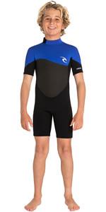 2020 Rip Curl Junior Boys Omega 1.5mm Back Zip Spring Shorty Wetsuit WSPYFB - Blue