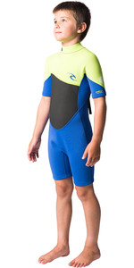 2020 Rip Curl Junior Boys Omega 1.5mm Back Zip Spring Shorty Wetsuit WSPYFB - Lime