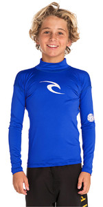2020 Rip Curl Junior Boys Corpo Long Sleeve Rash Vest WLE8QB - Blue