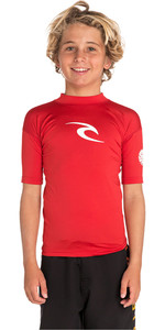 2020 Rip Curl Junior Boys Corpo Short Sleeve Rash Vest WLY5DB - Red