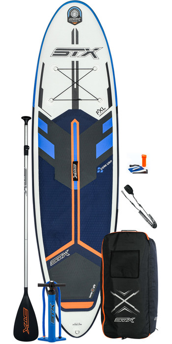 2021 STX Freeride 9'8 Inflatable Stand Up Paddle Board Package - Board, Bag, Paddle, Pump & Leash - Blue / Orange