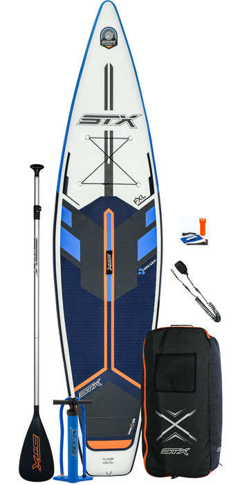 2021 STX Touring 12'6 Inflatable Stand Up Paddle Board Package - Board, Bag, Paddle, Pump & Leash - Blue / Orange