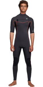 2020 Billabong Mens Revolution 2mm Short Sleeve Chest Zip Wetsuit S42M55 - Antique Black