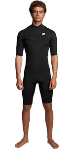 2020 Billabong Mens Absolute 2mm Flatlock Chest Zip Shorty Wetsuit S42M70 - Black