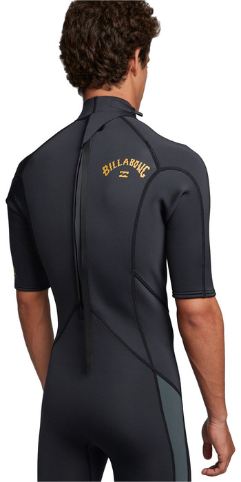 2020 Billabong Mens Absolute 2mm Flatlock Back Zip Shorty Wetsuit S42M71 - Antique Black