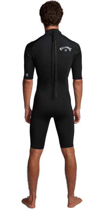 2020 Billabong Mens Absolute 2mm Flatlock Back Zip Shorty Wetsuit S42M71 - Black