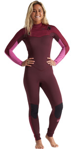 2020 Billabong Womens Furnace Synergy 4/3mm Chest Zip Wetsuit S44G52 - Maroon