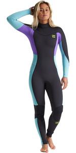 2020 Billabong Womens Synergy 3/2mm Back Zip Flatlock Wetsuit S43G54 - Blue Lagoon