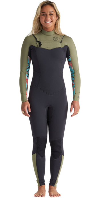 2020 Billabong Womens Salty Dayz 3/2mm Chest Zip Wetsuit S43G51 - Aloe