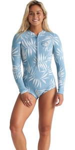 2020 Billabong Womens Salty Dayz 2mm Long Sleeve Shorty Wetsuit S42G57 - Blue Palms
