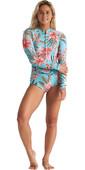 2020 Billabong Womens Salty Dayz 2mm Long Sleeve Shorty Wetsuit S42G57 - Waterfall