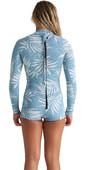 2020 Billabong Womens Spring Fever 2mm Long Sleeve Shorty Wetsuit S42G59 - Blue Palms