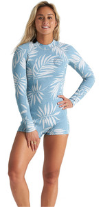 2020 Billabong Womens Spring Fever 2mm Long Sleeve Shorty Wetsuit S42G59 - Blue Palms