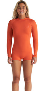 2020 Billabong Womens Spring Fever 2mm Long Sleeve Shorty Wetsuit S42G59 - Samba