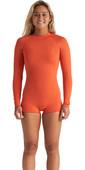 2020 Billabong Womens Spring Fever 2mm Long Sleeve Shorty Wetsuit S42G59 - Samba