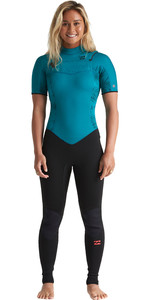 2020 Billabong Womens Furnace Synergy 2mm Chest Zip Short Sleeve Wetsuit S42G62 - Mermaid