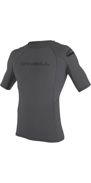 2019 O'Neill Basic Skins Short Sleeve Crew Rash Vest Smoke 3341