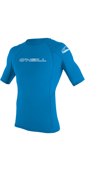 2019 O'Neill Youth Basic Skins Short Sleeve Rash Vest Brite Blue 3345
