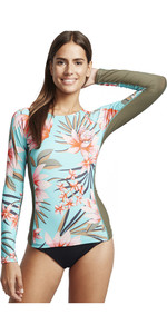 2020 Billabong Womens Surf Capsule Yoke Long Sleeve Rash Vest S4GY13 - Seafoam