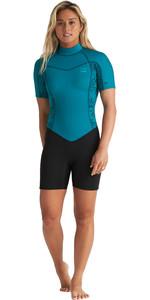 2020 Billabong Womens Synergy 2mm Back Zip Flatlock Shorty Wetsuit S42G80 - Mermaid