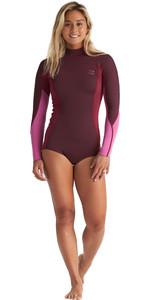 2020 Billabong Womens Synergy 2mm Long Sleeve Back Zip Flatlock Shory Wetsuit S42G92 - Maroon