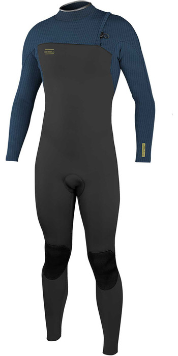 2021 O'Neill Mens Hyperfreak Comp 3/2mm Zipperless Wetsuit 4970 - Black / Abyss
