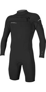 2021 O'Neill Mens Hammer 2mm Long Sleeve Chest Zip Shorty Wetsuit 4928 - Black