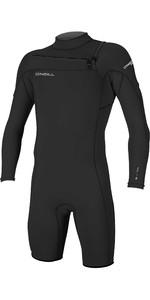 2020 O'Neill Mens Hammer 2mm Long Sleeve Chest Zip Shorty Wetsuit 4928 - Black