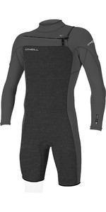 2021 O'Neill Mens Hammer 2mm Long Sleeve Chest Zip Shorty Wetsuit 4928 - Acid Wash / Smoke