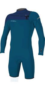 2020 O'Neill Mens Hammer 2mm Long Sleeve Chest Zip Shorty Wetsuit 4928 - Blue / Navy