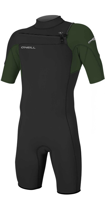 2021 O'Neill Mens Hammer 2mm Chest Zip Spring Shorty Wetsuit 4927 - Black / Dark Olive