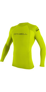 2020 O'Neill Mens Basic Skins Long Sleeve Crew Rash Vest 3342 - Lime