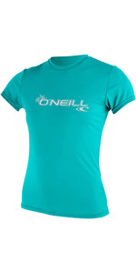 2020 O'Neill Womens Basic Skins Short Sleeve Rash Tee 3547 - Light Aqua