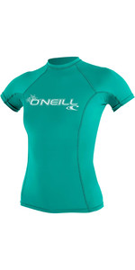 2020 O'Neill Womens Basic Skins Short Sleeve Crew Rash Vest 3548 - Light Aqua