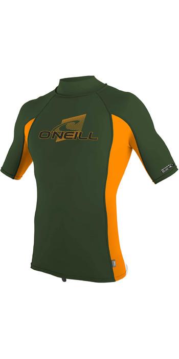 2020 O'Neill Youth Premium Skins Short Sleeve Turtleneck Rash Vest 4520 - Dark Olive