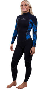2020 O'Neill Womens Psycho One 3/2mm Back Zip Wetsuit 5096 - Black / Blue Faro