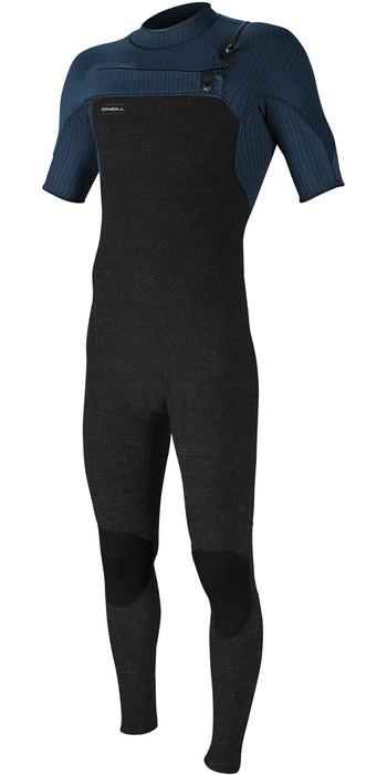 2021 O'Neill Mens Hyperfreak 2mm Chest Zip GBS Short Sleeve Wetsuit 5066 - Acid Wash / Abyss