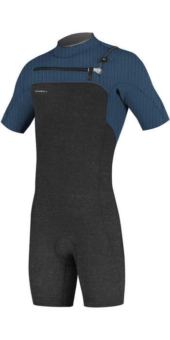 2021 O'Neill Mens Hyperfreak 2mm Chest Zip GBS Shorty Wetsuit 5036 - Acid Wash / Abyss