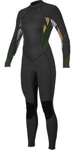 2021 O'Neill Womens Bahia 3/2mm Back Zip Wetsuit 5292 - Black / Baylen / Dark Olive