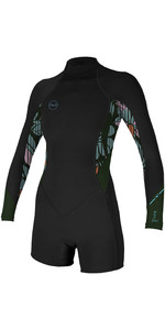 2020 O'Neill Womens Bahia 2/1mm Back Zip Long Sleeve Shorty Wetsuit 5291 - Black / Baylen / Dark Olive