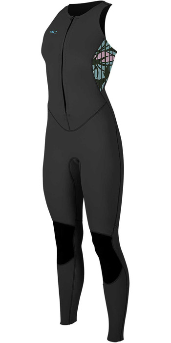 2021 O'Neill Womens Bahia 1.5mm Front Zip Long Jane Wetsuit 4860 - Black / Baylen / Dark Olive