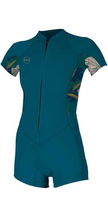 2021 O'Neill Womens Bahia 2/1mm Front Zip Shorty Wetsuit 5293 - French Navy / Bridget