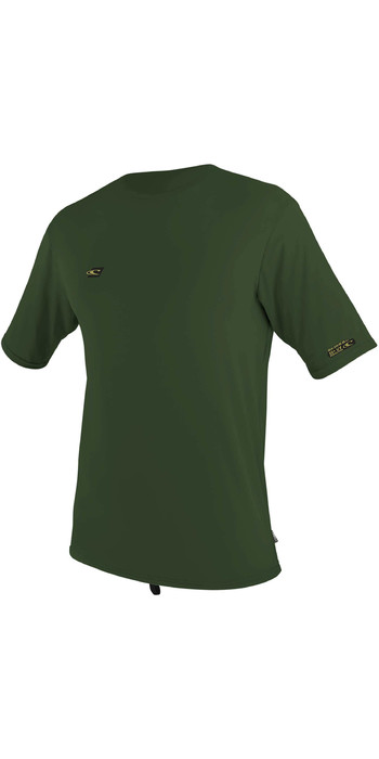 2020 O'Neill Mens Premium Skins Short Sleeve Sun Shirt 5301 - Dark Olive