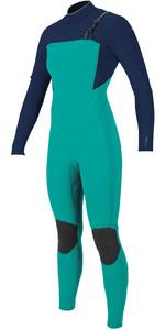 2020 O'Neill Womens Hyperfreak+ 4/3mm Chest Zip Wetsuit 5349 - Capri Breeze / Abyss