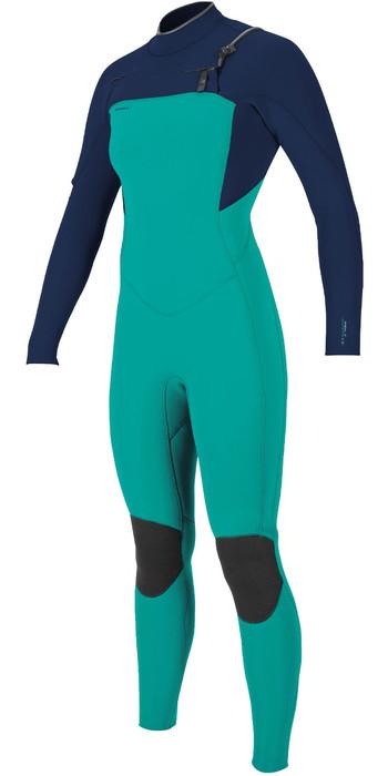 2020 O'Neill Womens Hyperfreak+ 3/2mm Chest Zip Wetsuit 5348 - Capri Breeze / Abyss