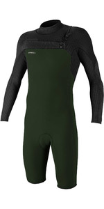 2021 O'Neill Mens Hyperfreak 2mm Chest Zip GBS Long Sleeve Shorty Wetsuit 5004 - Dark Olive / Black